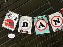 Load image into Gallery viewer, Race Car Name Birthday Party Banner Racing Girl Red Aqua Blue 1st 2nd 3rd 4th 5th 6th 7th 8th 9th 10th Boogie Bear Invitations Danica Theme