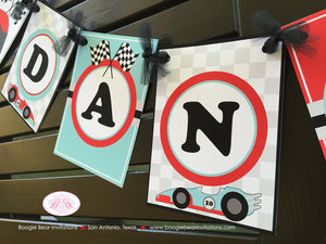 Race Car Name Birthday Party Banner Racing Girl Red Aqua Blue 1st 2nd 3rd 4th 5th 6th 7th 8th 9th 10th Boogie Bear Invitations Danica Theme