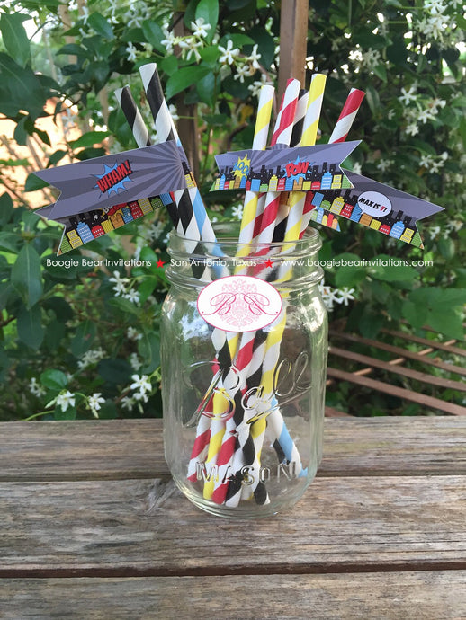 Superhero Birthday Party Paper Straws Pennant Super Hero Comic Boy Girl 1st 2nd 3rd 4th 5th 6th 7th 8th Boogie Bear Invitations Max Theme