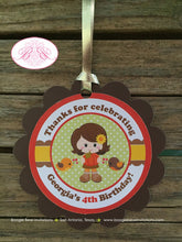 Load image into Gallery viewer, Harvest Girl Birthday Party Favor Tags Autumn Fall Pumpkin Picking Retro 1st 2nd 3rd 4th 5th Boogie Bear Invitations Georgia Theme Printed