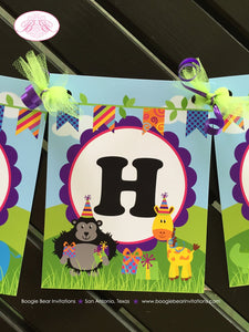 Wild Zoo Animals Happy Birthday Banner Boy Girl Safari Jungle Party Tiger Lion Zebra 1st 2nd 3rd 4th Boogie Bear Invitations Cassidy Theme