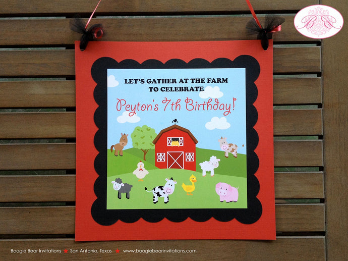 Barn Farm Animals Birthday Door Banner Girl Boy Country Barn Red Black 1st 2nd 3rd 4th 5th 6th 7th 8th Boogie Bear Invitations Peyton Theme