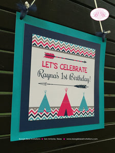 Teepee Arrow Birthday Party Door Banner Happy Welcome Chevron Pink Aqua Blue Girl 1st 2nd 3rd 4th 5th Boogie Bear Invitations Rayna Theme