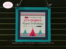 Load image into Gallery viewer, Teepee Arrow Birthday Party Door Banner Happy Welcome Chevron Pink Aqua Blue Girl 1st 2nd 3rd 4th 5th Boogie Bear Invitations Rayna Theme