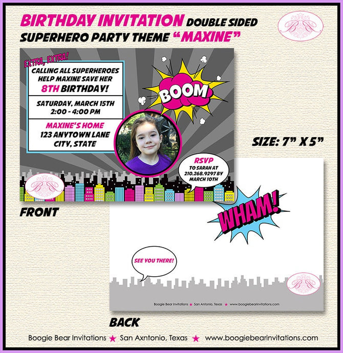 Pink Superhero Photo Party Invitation Birthday Girl 1st 4th 5th 6th 7th 8th Boogie Bear Invitations Maxine Theme Paperless Printable Printed