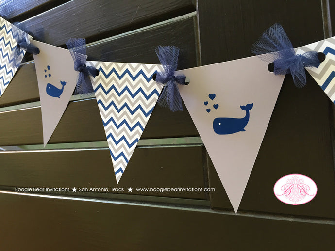 Navy Blue Whale Baby Shower Party Banner Pennant Garland Boy Royal Grey White Little Chevron Boogie Bear Invitations Kristy Theme Printed
