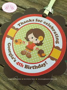 Harvest Girl Birthday Party Favor Tags Autumn Fall Pumpkin Picking Retro 1st 2nd 3rd 4th 5th Boogie Bear Invitations Georgia Theme Printed