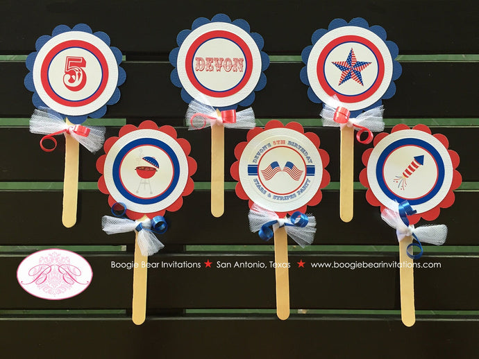 4th of July Birthday Party Cupcake Toppers Boy Girl Fireworks Patriotic Flag Independence Day Boogie Bear Invitations Devon Theme Printed