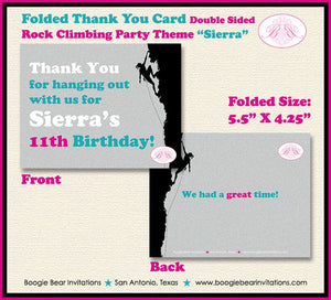Rock Climbing Birthday Party Thank You Card Mountain Pink Teal Girl 7th 8th 9th 10th 11th 12th Boogie Bear Invitations Sierra Theme Printed