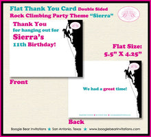 Load image into Gallery viewer, Rock Climbing Birthday Party Thank You Card Mountain Pink Teal Girl 7th 8th 9th 10th 11th 12th Boogie Bear Invitations Sierra Theme Printed