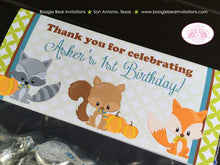 Load image into Gallery viewer, Forest Animals Birthday Party Treat Bag Toppers Folded Favor Fall Pumpkin Boy Girl 1st 2nd 3rd 4th 5th Boogie Bear Invitations Asher Theme