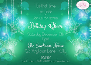 Christmas Winter Party Invitation Green Glowing Ornament Ombré Star Glow Boogie Bear Invitations Erickson Theme Paperless Printable Printed