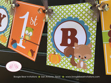 Load image into Gallery viewer, Fall Woodland Animals Happy Birthday Banner Party Owl Squirrel Fox Forest Pumpkin Boy Girl 1st 2nd 3rd Boogie Bear Invitations Asher Theme