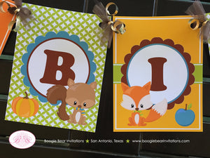 Fall Woodland Animals Happy Birthday Banner Party Owl Squirrel Fox Forest Pumpkin Boy Girl 1st 2nd 3rd Boogie Bear Invitations Asher Theme
