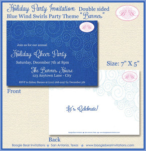 Blue Swirls Christmas Party Invitation Stitch Sew Winter Holiday Navy Boogie Bear Invitations Barnes Theme Theme Paperless Printable Printed