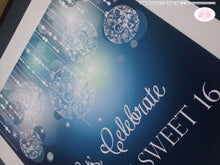 Load image into Gallery viewer, Sweet 16 Happy Birthday Door Banner Blue Glowing Ornaments Winter Christmas Holiday 21st 16th 30th 40th Boogie Bear Invitations Krista Theme