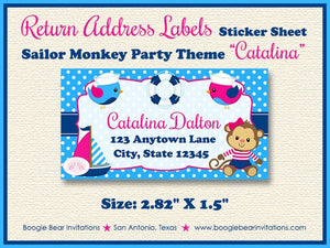 Sailor Monkey Girl Birthday Photo Party Invitation Pink Blue 1st 2nd 3rd Boogie Bear Invitations Catalina Theme Paperless Printable Printed