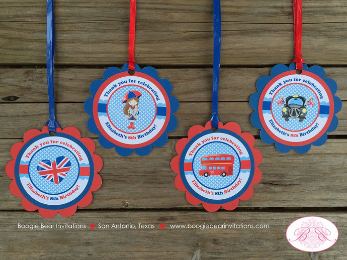 London England Birthday Party Favor Tags Girl British Flag 1st 2nd 3rd 4th 5th 6th 7th 8th 9th 10th Boogie Bear Invitations Elizabeth Theme