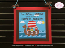 Load image into Gallery viewer, Viking Warrior Party Door Banner Birthday Boy Girl Ocean Set Sail Ship Kids 1st 2nd 3rd 4th 5th 6th 7th Boogie Bear Invitations Eric Theme