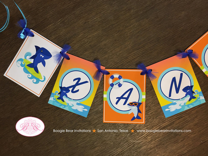 Surfer Shark Birthday Party Name Banner Ocean Swimming Beach Boy Girl 1st 3rd 4th 5th 6th 7th 8th 9th Boogie Bear Invitations Xander Theme