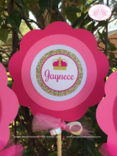 Load image into Gallery viewer, Pink Gold Princess Birthday Centerpiece Set Party Girl Glitter Queen Crown 1st 2nd 3rd 4th 5th 6th 7th Boogie Bear Invitations Jaynece Theme