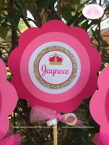 Pink Gold Princess Birthday Centerpiece Set Party Girl Glitter Queen Crown 1st 2nd 3rd 4th 5th 6th 7th Boogie Bear Invitations Jaynece Theme