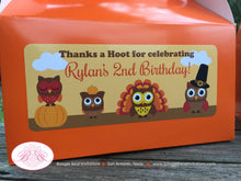 Load image into Gallery viewer, Thanksgiving Owls Birthday Treat Boxes Favor Tags Bag Party Boy Girl Pumpkin Turkey Fall 1st 2nd 3rd 4th Boogie Bear Invitations Rylan Theme