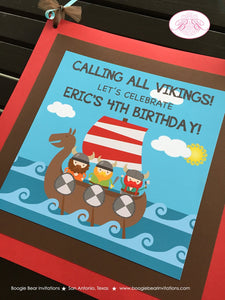 Viking Warrior Party Door Banner Birthday Boy Girl Ocean Set Sail Ship Kids 1st 2nd 3rd 4th 5th 6th 7th Boogie Bear Invitations Eric Theme