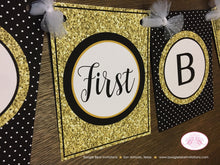 Load image into Gallery viewer, Mr. Wonderful Happy Birthday Party Banner Bow Tie Boy Little Man Black Onederful Glitter Gold ONE 1st 2nd Boogie Bear Invitations Owen Theme