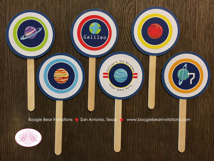 Outer Space Birthday Cupcake Toppers Party Boy Girl Science Planets 1st 2nd 3rd 4th 5th 6th 7th 8th Boogie Bear Invitations Galileo Theme