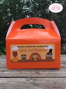 Thanksgiving Owls Birthday Treat Boxes Favor Tags Bag Party Boy Girl Pumpkin Turkey Fall 1st 2nd 3rd 4th Boogie Bear Invitations Rylan Theme