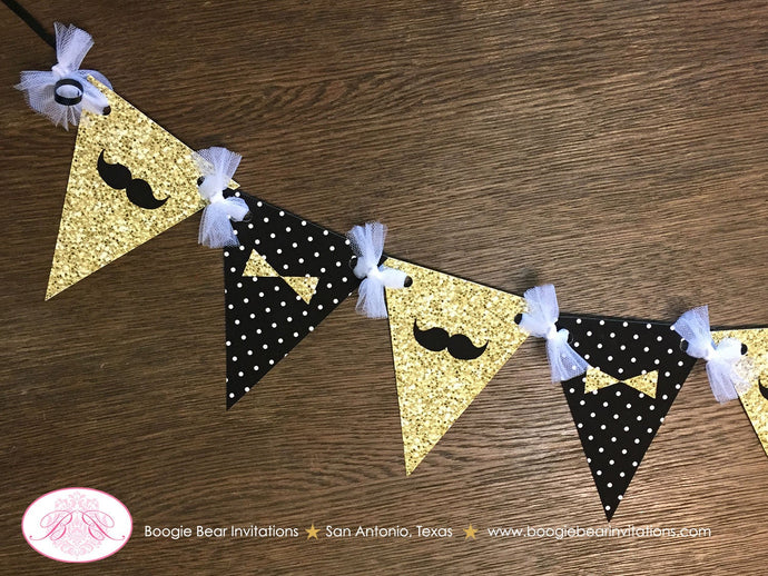 Mr. Wonderful Birthday Party Banner Pennant Garland Boy Gold Black White ONE Onederful Bow Tie Mustache Boogie Bear Invitations Owen Theme