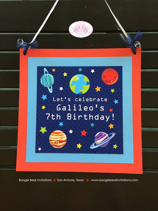 Outer Space Birthday Party Door Banner Galaxy Girl Boy Planet 1st 2nd 3rd 4th 5th 6th 6th 7th 8th 9th Boogie Bear Invitations Galileo Theme