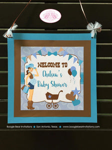 Cowgirl Blue Baby Shower Door Banner Boy Modern Chic Rustic Farm Country Turquoise Teal Paisley 1st Boogie Bear Invitations Chelsea Theme
