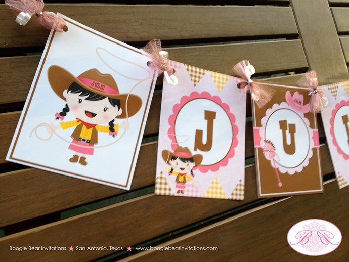 Cowgirl Birthday Party Name Banner Pink Girl Western Hoedown Brown Hat Boots 1st 2nd 3rd 4th 5th 6th 7th Boogie Bear Invitation Julie Theme
