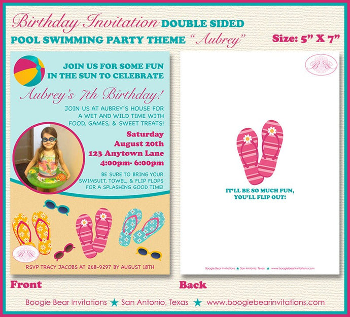 Flip Flop Birthday Party Invitation Photo Girl Pool 1st 5th 6th 7th 8th 9th Boogie Bear Invitations Aubrey Theme Paperless Printable Printed