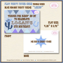 Load image into Gallery viewer, Blue Cowboy Birthday Party Favor Card Tent Place Appetizer Food Sign Label Tag Boy 1st 2nd 3rd Boogie Bear Invitations Logan Theme Printed