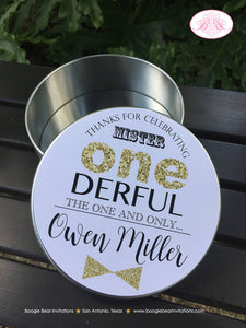 Mr Wonderful Birthday Cookie Favor Tins Treat Candy ONE Boy Onederful Glitter Large Black Gold 1st Party Boogie Bear Invitations Owen Theme
