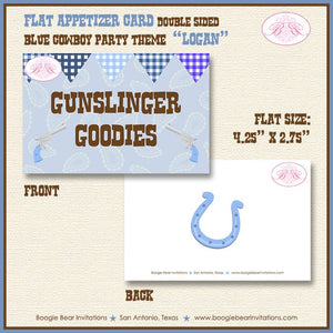 Blue Cowboy Birthday Party Favor Card Tent Place Appetizer Food Sign Label Tag Boy 1st 2nd 3rd Boogie Bear Invitations Logan Theme Printed