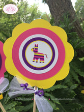 Load image into Gallery viewer, Fiesta Taco Birthday Party Centerpiece Sticks Pink Yellow Purple Cinco De Mayo 1st 2nd 3rd 4th 5th 6th Boogie Bear Invitations Mariela Theme