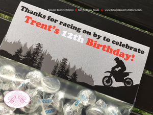 Dirt Bike Birthday Party Treat Bag Toppers Folded Favor 1st 2nd 3rd 4th 5th 6th 7th 8th 9th 10th 12th Boogie Bear Invitations Trent Theme