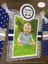 Load image into Gallery viewer, Mr. Wonderful Photo Timeline Banner 1st Onederful Birthday Bow Tie Mustache First Navy Blue Silver White Boogie Bear Invitations Odin Theme