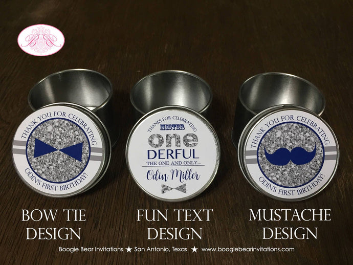 Mr Wonderful Birthday Party Treat Favor Tins Circle Candy Bow Tie Mustache Boy Onederful Navy Silver 1st Boogie Bear Invitations Odin Theme