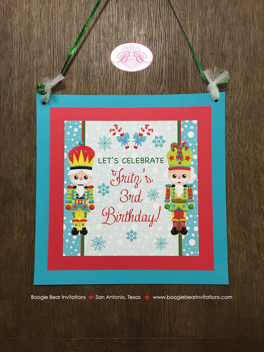 Nutcracker Birthday Party Door Banner Winter Christmas Red Green Blue Boy Girl 1st 2nd 3rd 4th 5th 6th Boogie Bear Invitations Fritz Theme
