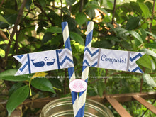 Load image into Gallery viewer, Navy Blue Whale Baby Shower Pennant Straws Paper Chevron White Valentine's Day Drink Beverage Buffet Boogie Bear Invitations Kristy Theme