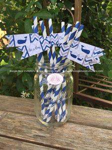 Navy Blue Whale Baby Shower Pennant Straws Paper Chevron White Valentine's Day Drink Beverage Buffet Boogie Bear Invitations Kristy Theme