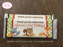 Load image into Gallery viewer, Woodland Animals Birthday Party Candy Bar Wraps Wrappers Fall Boy Girl Pumpkin Raccoon 1st 2nd 3rd 4th Boogie Bear Invitations Autumn Theme
