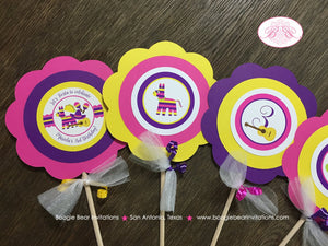 Fiesta Taco Birthday Party Centerpiece Sticks Pink Yellow Purple Cinco De Mayo 1st 2nd 3rd 4th 5th 6th Boogie Bear Invitations Mariela Theme