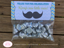 Load image into Gallery viewer, Mustache Bash Baby Shower Treat Bag Toppers Folded Favor Lime Green Blue Grey Retro Chevron Boy 1st 2nd Boogie Bear Invitations Remy Theme