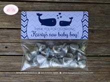 Load image into Gallery viewer, Navy Blue Whale Baby Shower Folded Treat Bag Toppers Boy Girl Grey Ocean Silver White Label Chevron Boogie Bear Invitations Kristy Theme